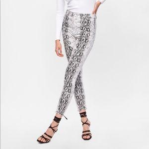 Zara high waist snake print jeans